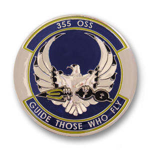 355th Operations Support Squadron Air Force Challenge Coin - 1.75 inch, Nickel with epoxy