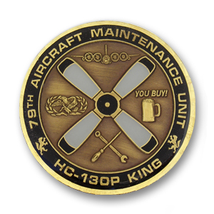 79th Aircraft Maintenance Unit Challenge Coin - 1.75 inch, Antique Bronze with a Flat diamond cut edge and epoxy